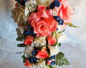 Wedding Bouquet Bridal Roses Cascade 2pc Coral Peach Cream Ivory Dark Blue Silk Flowers