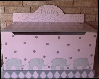 Childrens Furniture, Toy boxes, Elephants, Pink and Grey, Kids Furniture, Toy Chest, Bench, Baby shower Gift, Nursery Decor