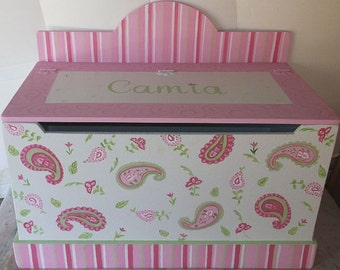 Paisley Park, Toy Boxes, Toy Chest, Kids Furniture, Pink Paisley, Toy Storage, Toy Bin, Personalized Gifts