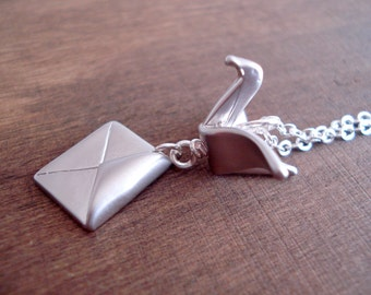 ON SALE Origami Crane and Envelope Necklace - Bird Necklace - Silver Necklace - Collier Argent Grue Origami et Enveloppe