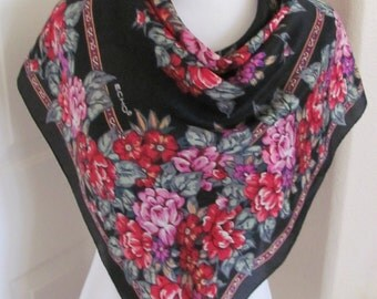 "ECHO // Lovely Colorful Black Floral Silk Scarf // 32"" Inch 81cm Square // Best of the Best"