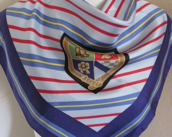 "Talbots // Beautiful Blue Stripe Silk Scarf // 25"" Inch 63cm Square"