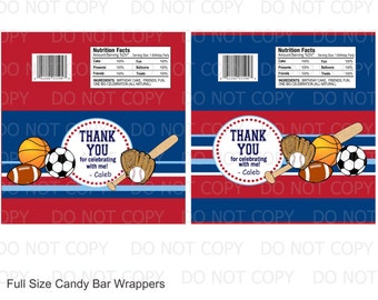 Printable DIY Sports Theme Birthday Full Size Candy Bar Wrappers - 2 designs personalized