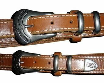 ON SALE Vintage Womens Made In France Orange Brown Leather Belt Size 30 31 Eagles Full Grain Leather