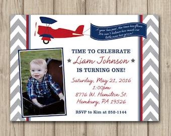 AIRPLANE BIRTHDAY INVITATION, Time Flies Birthday Invitation, Boy 1st Birthday Invitation, Printable 5x7