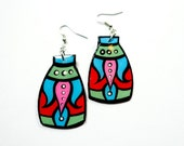 Bold Modern Handpainted Turkish Flower Blossom Earrings in Turquoise, Red and Bubble Gum Pink