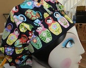 Russian Nesting Dolls  Banded Bouffant Surgical Cap by Nurseheadwear Bakers Cap