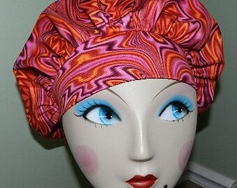 Pink Bass Confusion Banded Bouffant Surgical Cap