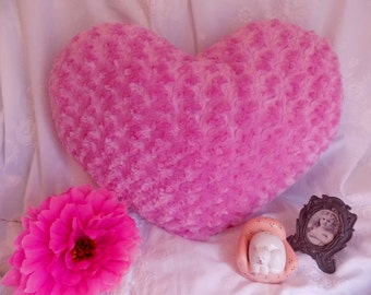 Large PINK Heart Fluffy Silky Soft Shaggy Throw Toss Heart Shaped Pillow * ROSES * Wedding * Soft Huggable Heart Pillow * Pink Chenille