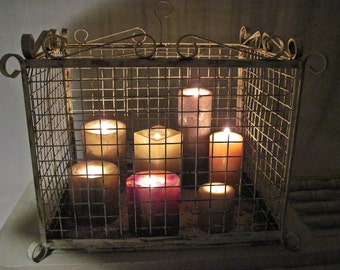 Rustic and Rusted Birdcage Candle Garden / Pillar Holder / Display Case / Large Heavy Iron Hand Painted by OlliesFineThings