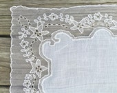 Vintage Lace Wedding Hankie Wedding Handkerchief White Lace Hankie White Bridal Handkerchief  Hankie