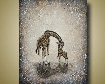 Giraffe Mother and Baby Painting - Nursery Art - Giraffe Art Original Painting 24x30 by Britt Hallowell
