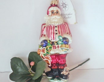 Vintage Retired Radko Christmas Santa Ornament Ring In The Holiday Little Gems Collection
