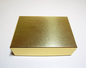 Gold Foil Box 2 Piece Presentation, Candy, Cookie, Jewelry and Favor Box