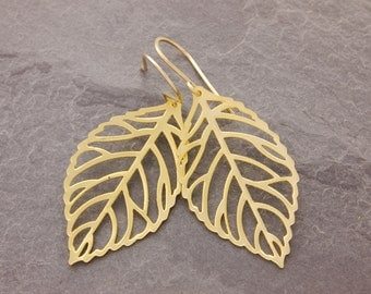 Gold Leaf Earrings, gold filigree leaf, gold branch earrings, gift for her, gift under 10, nature jewelry, filigree leaf earring