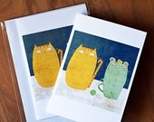 Mouse - cat friendship card // greeting card // animal illustration