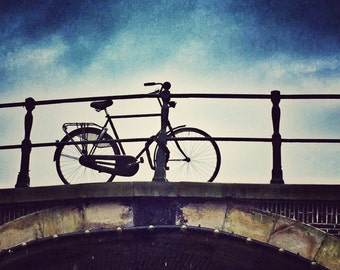 8x8 Aluminum Photo Panel: Rainy Day Bicycle trip, Amsterdam, Netherlands