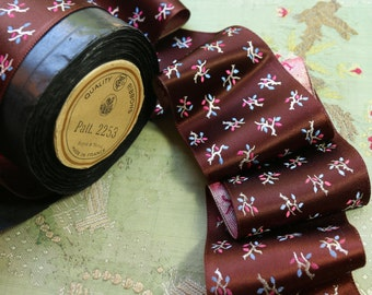 """1 yard French antique metal ribbon from original roll shimmery millinery trim rayon burgundy silver pink hat trim wide 3"""""""