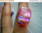 On SALE Dichroic Ring Glowing Pink Adjustable Ring Fused Glass Cabochon Dichroic Glass Statement Ring Freeform Dichroic Glass Jewelry csmArt