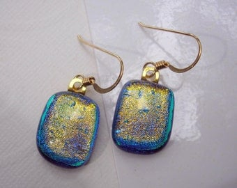 Gilded Teal Dangle Earrings Iridescent with Gold French Earwires Dichroic Fused Glass Jewelry Pierced Ears Blue Teal Drop Earrings Handmade