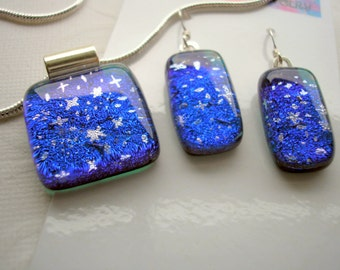 Dichroic Glass Jewelry Set Blue Star Field Pendant and Earrings Matching Set .925 Sterling Silver Earwires Blue Fused Glass Space Jewelry