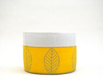 Ceramic Yellow Leaf Planter, Cup, Bowl