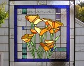 "California Poppy over Geometric  21"" x 21"" --Stained Glass Panel"