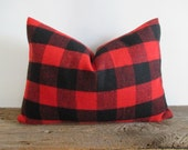 Lumbar Wool Pillow Cover Buffalo Check Red Black Lumberjack Zipper