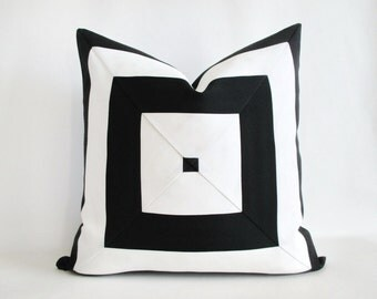 Pillow Cover Indoor Outdoor Mitered Black White Stripes