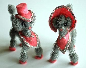 Cutest Kitsch Folk Art POODLES...Pink and Silver...Kawaii...OOAK