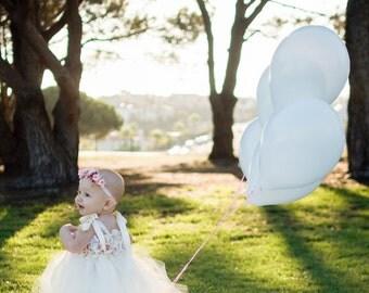 Cream floral tutu dress, tutu dress, pearl centers, infant tutu dress, toddler tutu dress, photo prop, tutu, clothing, girls tutu dress
