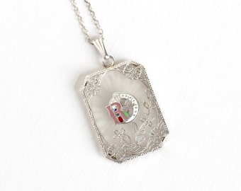 Sale - Antique Art Deco Sterling Silver Daughters of Rebekah Camphor Glass Necklace - Vintage Filigree Enamel Odd Fellows Pendant Jewelry