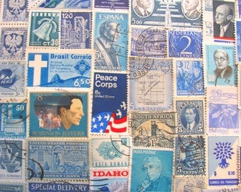 Shades of Blue 100 Vintage Blues Postage Stamps Navy Marine Robin's Egg Cerulean Azure Turquoise Ultramarine Teal US Worldwide Philately