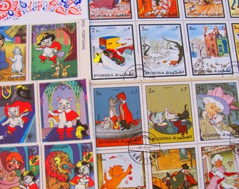 Classic Cartoons 50 Premium Vintage Illustrated Postage Stamps Animation Illustration Disney Comics Kids Drawing Art Worldwide Philately