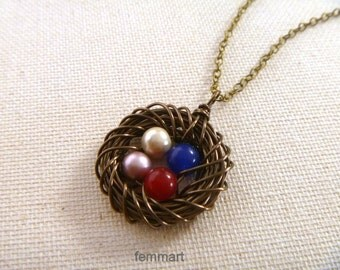 Birds Nest Necklace - Four 4 eggs in a Nest - Mom necklace - Mama Necklace - Mother's Day Gift - Mommy Necklace - Brass