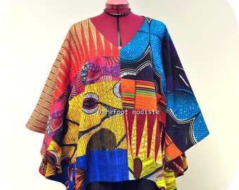 African Patchwork Bohemian Blouse, Vibrant Ankara Kaftan Top, Unique Afro style, Barefoot Modiste Handmade Summer wear, Size - up to XXL