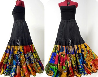 Hadiyah - Unique African Patchwork Skirt, Long Bohemian Maxi skirt, Black Ankara Wax, Barefoot Modiste Handmade, Suited for size - M to L