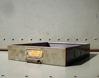 Small Vintage Metal Tray Drawer with Handle / Industrial Decor / Distressed Rusty Grime / Grey Metal Drawer / Organizer Drawer