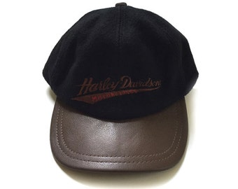 Early Harley Davidson 6 Panel Black Hat Cap Wool with Leather Trim and Bill Adjustable One Size
