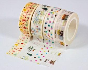 Washi Tape - Colorful Drops, Cat Tree, Polka Dots, Cute Jars - Set of 4