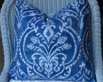 SALE SALE  Two 20 x 20  Denim Damask Fabric both sides