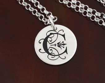 Fancy Initial Necklace | Sterling Silver Personalized Jewelry
