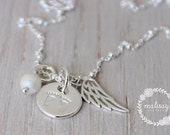 angel baby foot print and angel wing necklace | infant loss jewelry | malisay designs hand stamped sterling silver | memorial necklace