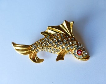 RHINESTONE  FISH  PIN   1950's