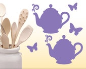 Kitchen Cabinet Decals, Teapot Decals & Butterfly Decals, Kitchen Decor Decals, Butterfly Wall Decals, Teapot Wall Decals,