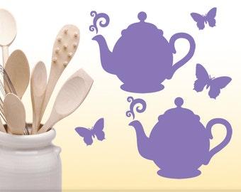 Kitchen Cabinet Decals, Teapot Decals & Butterfly Decals, Kitchen Decor Decals, Butterfly Wall Decals, Teapot Wall Decals,