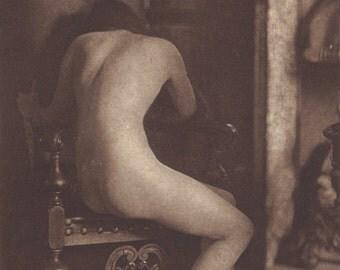 Pictorialist Nude 1 by Hermann Schieberth of Vienna, circa 1910s. Ed. Kilophot