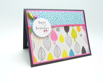 Happy Birthday Card for Her, Unique Handmade Birthday Greeting Card, Classy Colorful Paper Birthday Card for Mom, Friend, Sister, Fancy Card