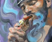 RESERVED for ASHLEY Cigar Leather Daddy, 14x11 inches, oil on panel, by Kenney Mencher