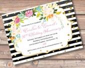 Floral Glitter Stripes Wedding Anniversary Invitation Printable Watercolor Floral Gold Confetti Bridal Shower Invite Baby Shower Birthday